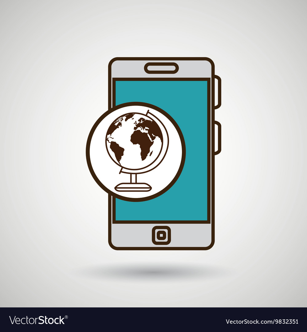 Smartphone blue map isolated icon design