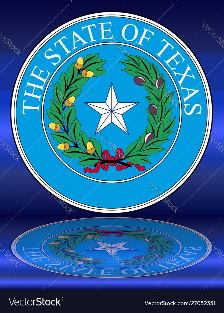 Texas State Seal Reflection Royalty Free Vector Image