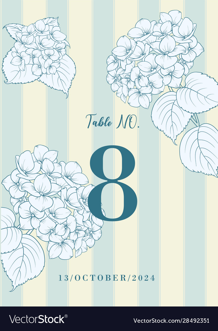 Wedding invitation with blue hydrangea flowers on