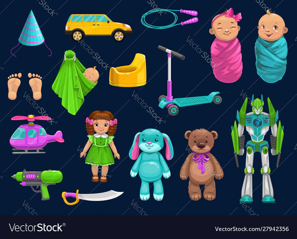 Baby toy car robot doll bear and scooter icons
