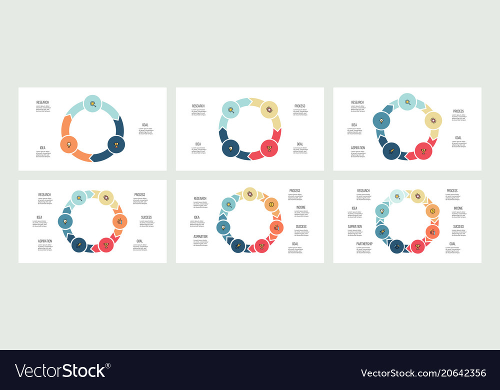 Business infographics circles with 3 - 8 parts