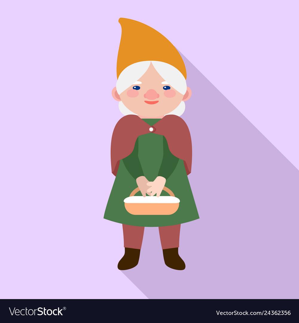 Garden woman gnome icon flat style
