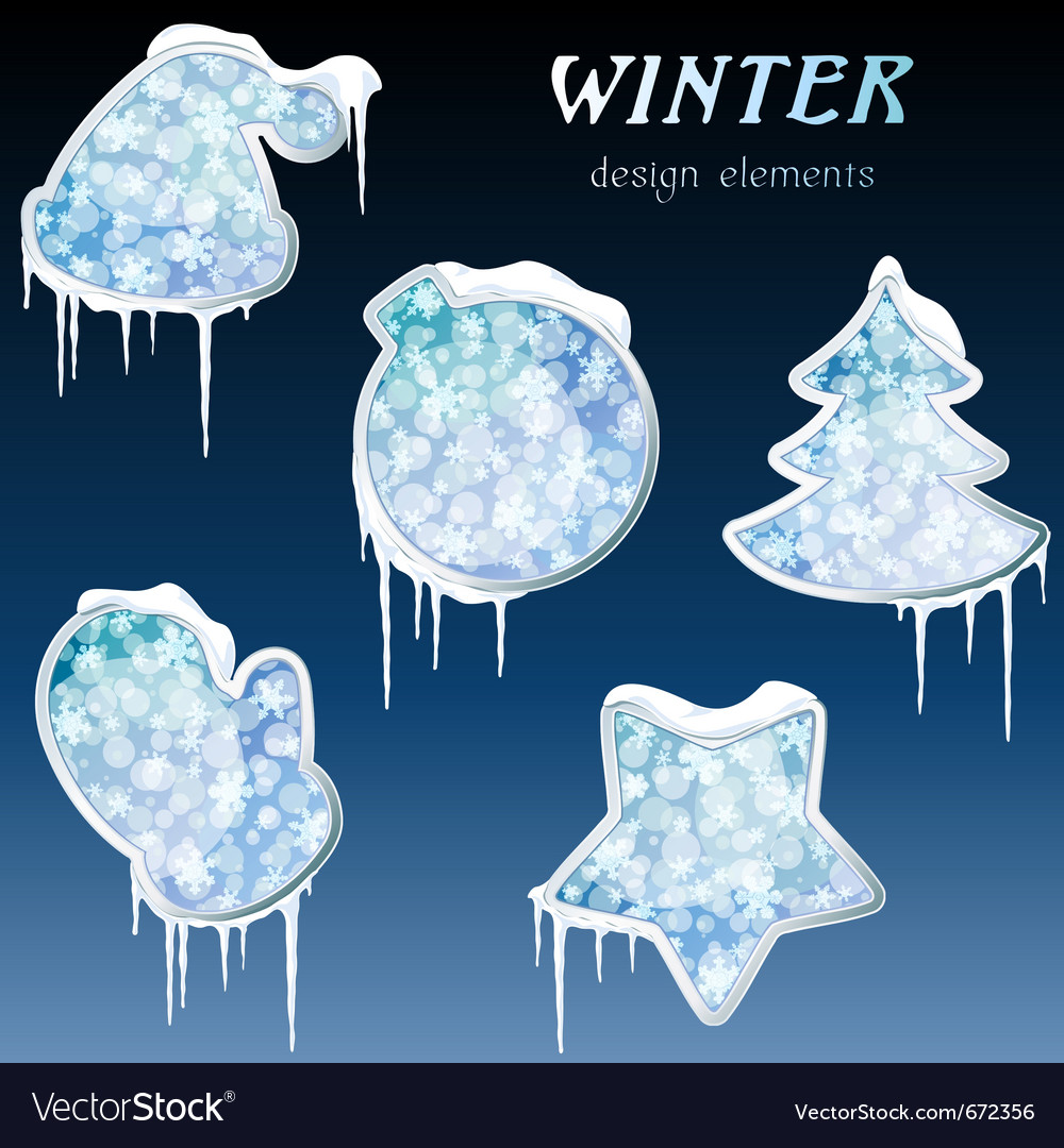 Glossy winter icons with icicles