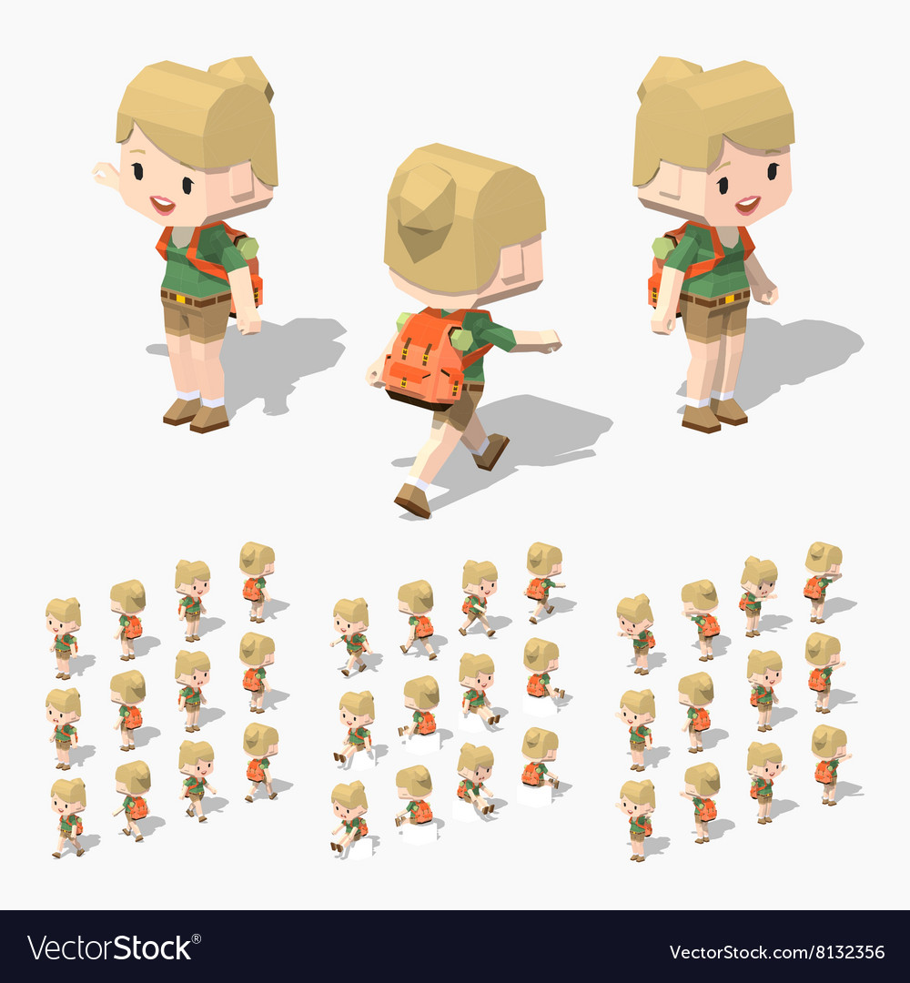 Low poly tourist girl
