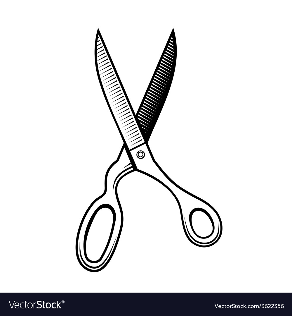 Retro Scissors Icon on a White Background