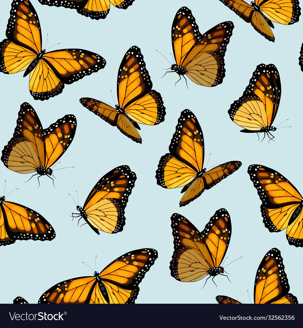 Seamless patterns with monarch butterflies
