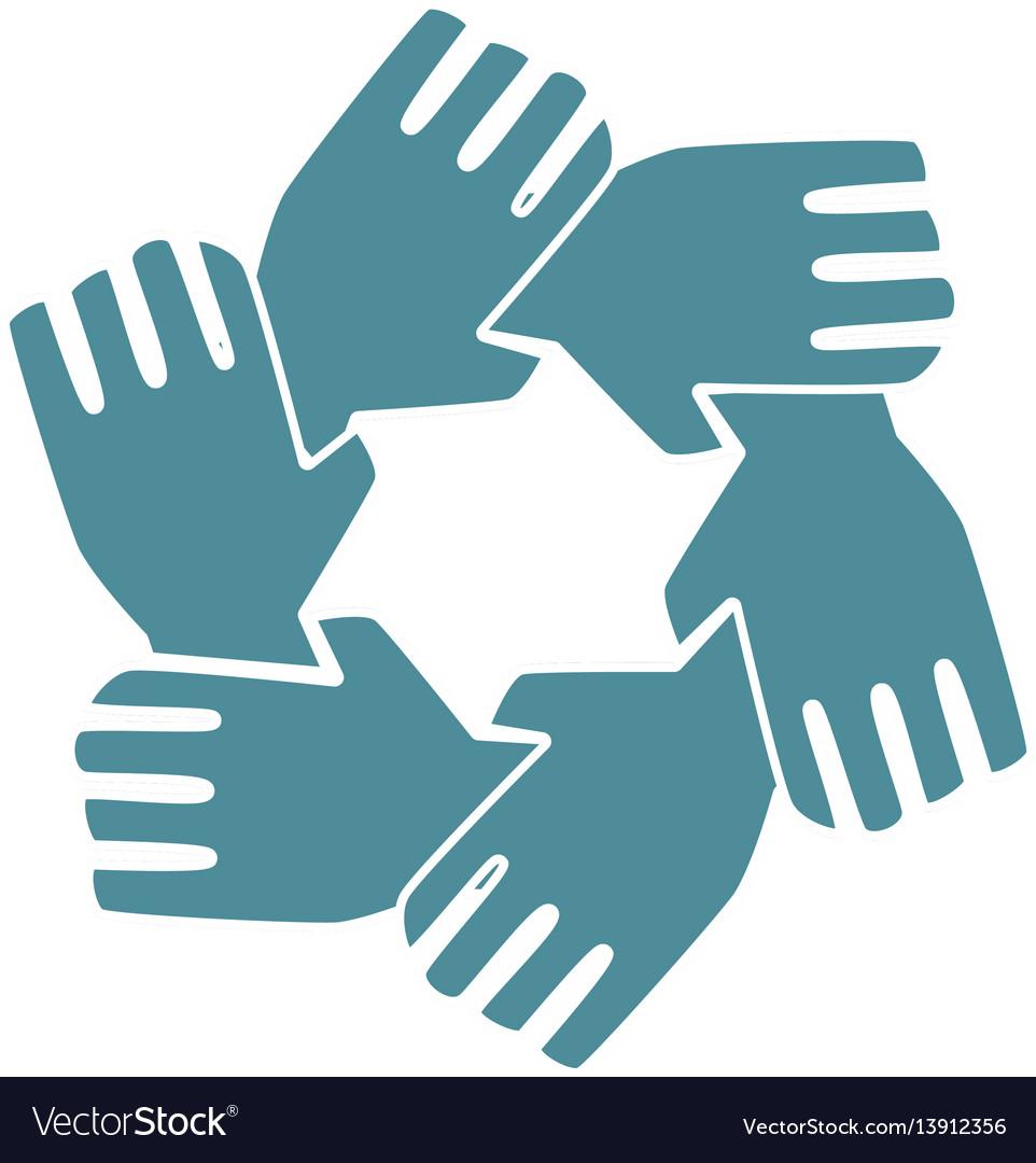 Silhouette hands teamwork icon design vector image