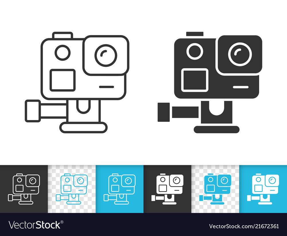 action camera simple black line icon vector image
