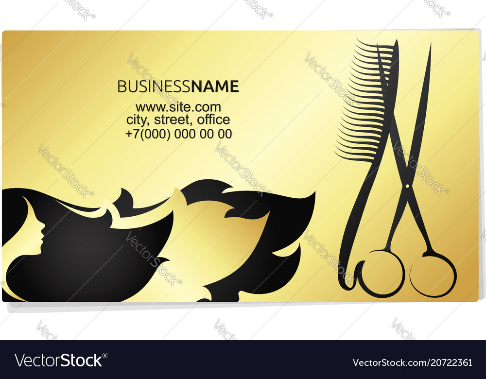 beauty salon business card gold vector image - Salon Business Cards