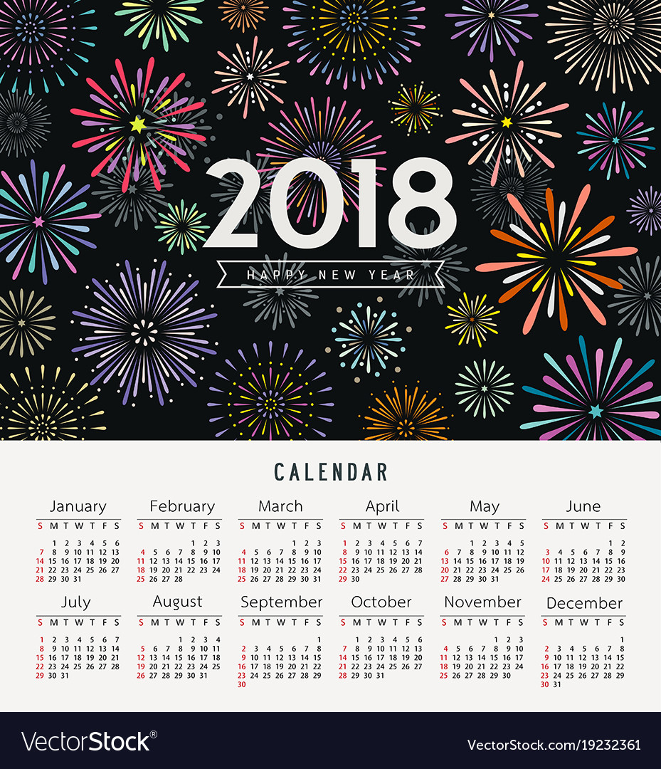 Calendar happy new year 2018 colorful fireworks
