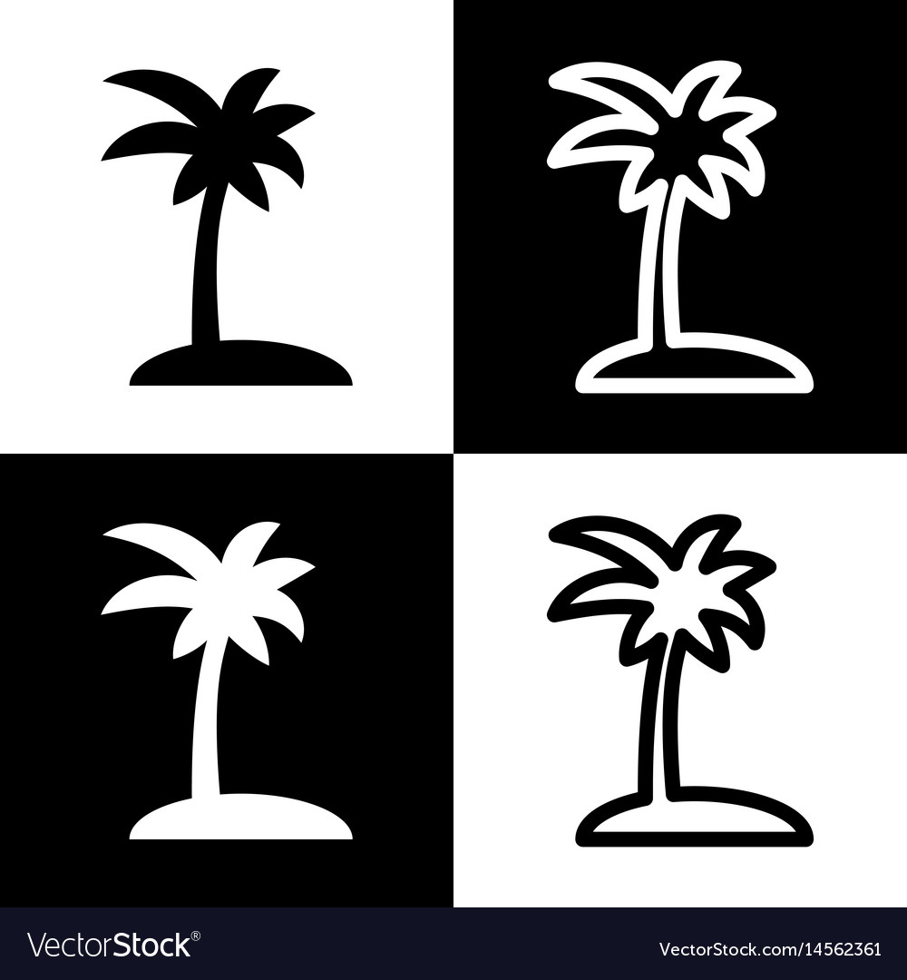 Coconut Palm Tree Sign Black And White Royalty Free Vector
