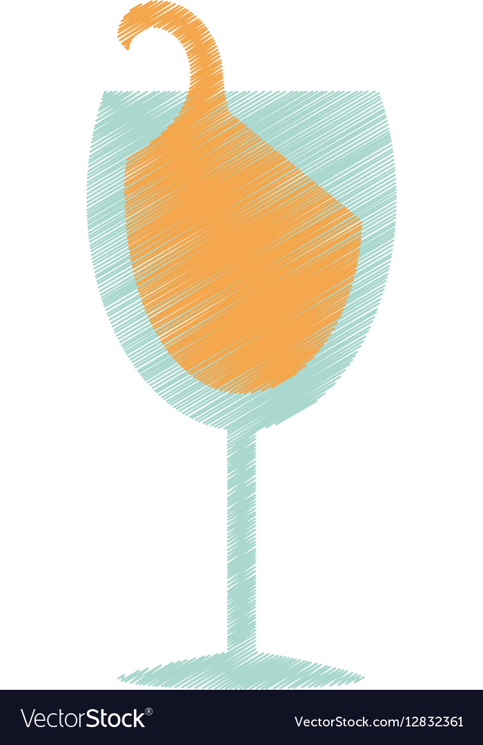 Drawing glass cup champagne drink celebration