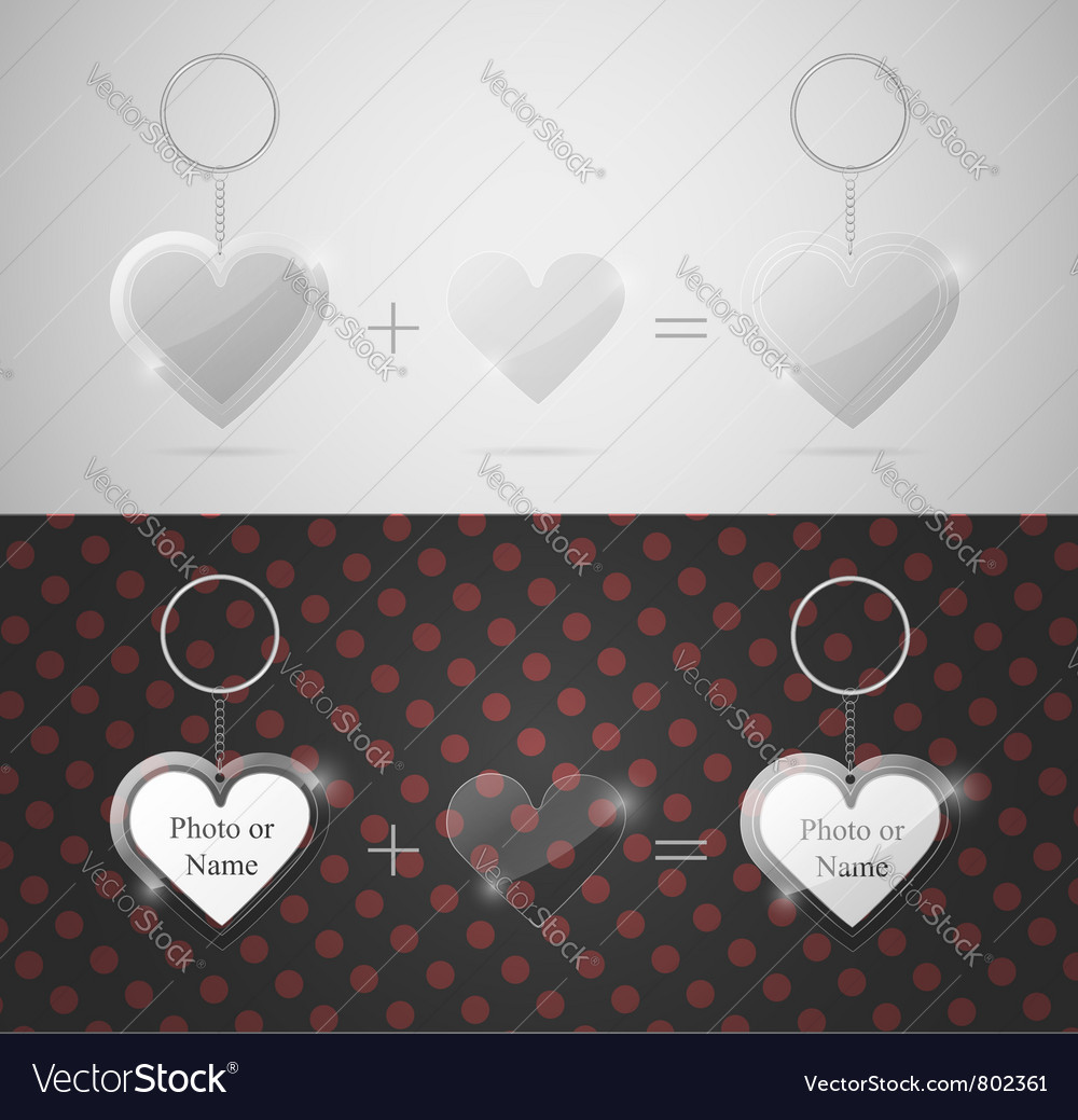 Glass heart keychain vector image