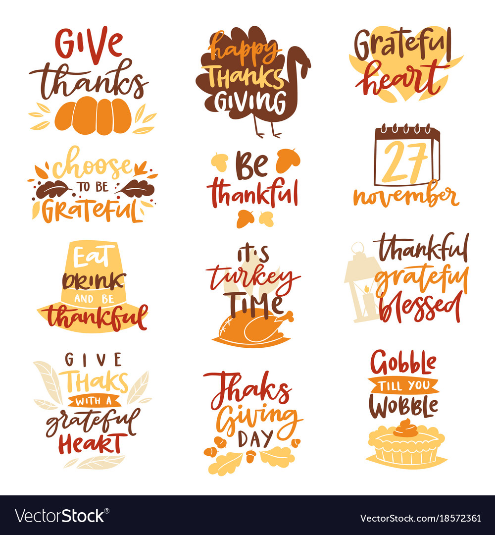 Happy thanksgiving text logo lettering