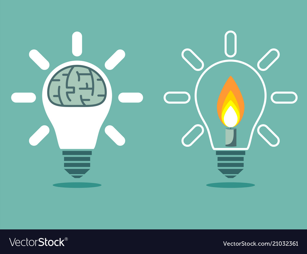 Light bulb with a candle and brain in lamp