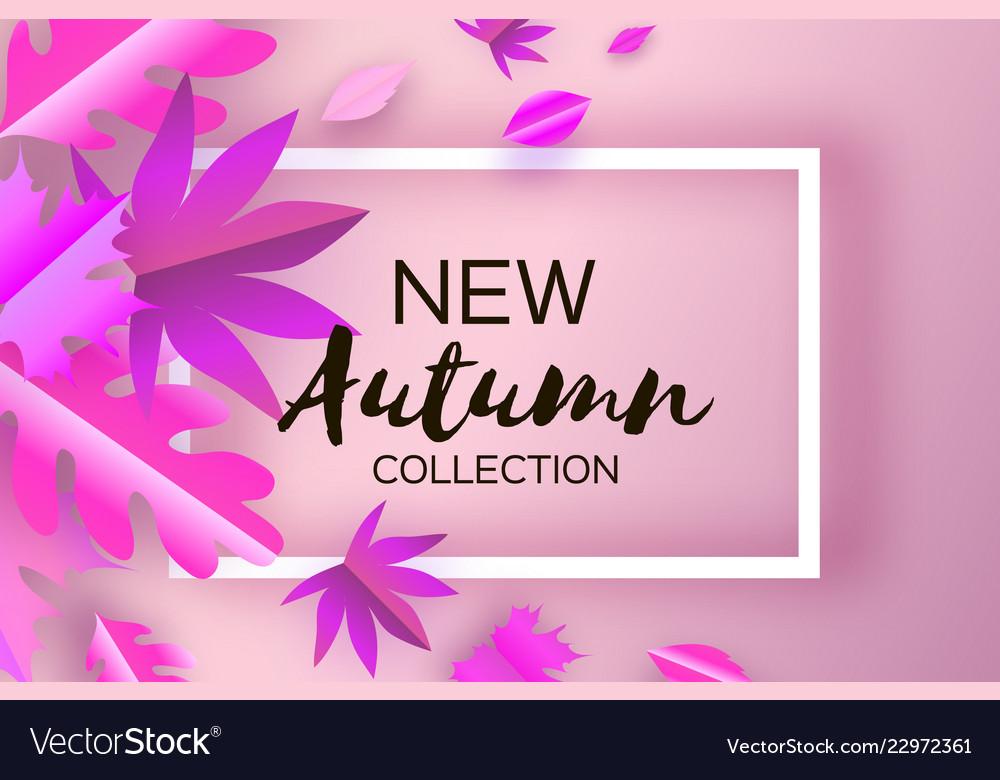Magenta autumn paper cut leaves new autumn