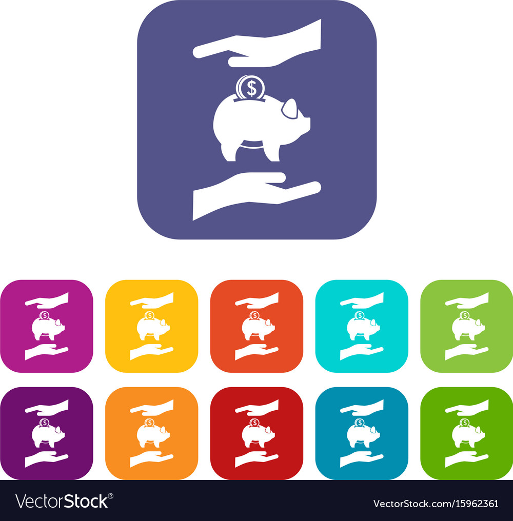 Piggy bank and hands icons set vector image