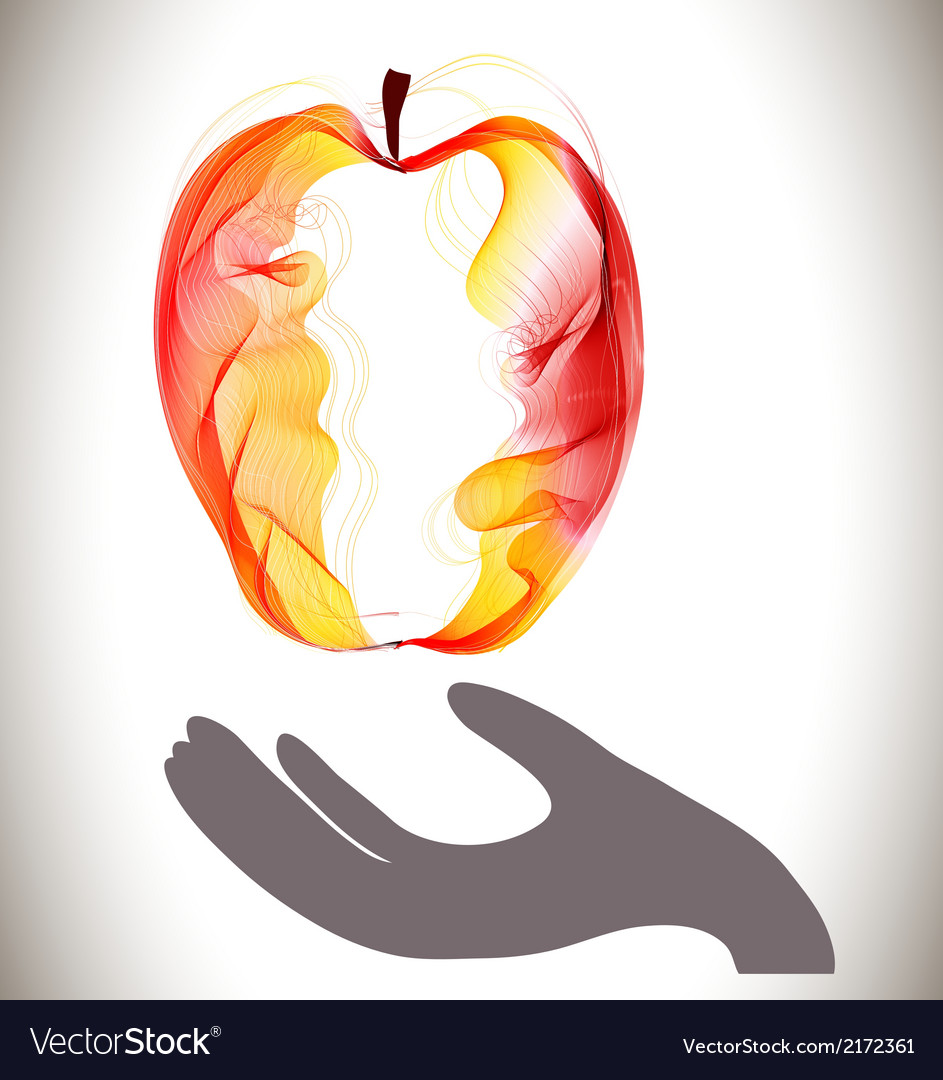 Red abstract apple and gray hand