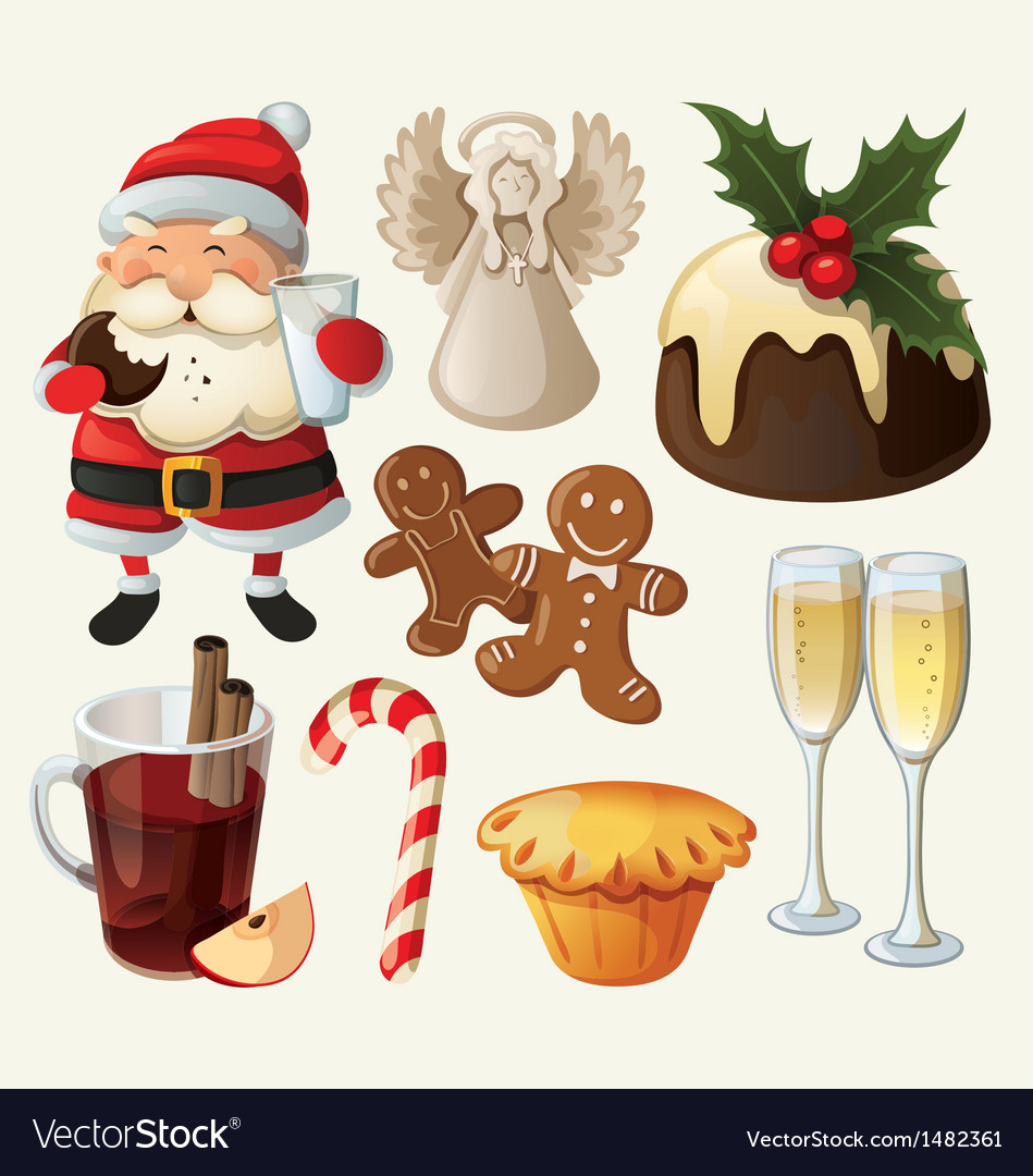 Set festive food and decorations for christmas