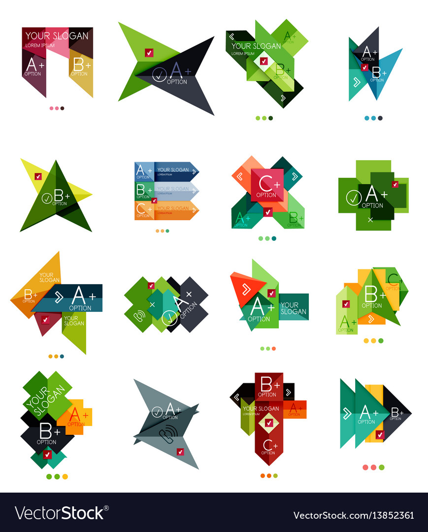 Set of color paper style business infographic