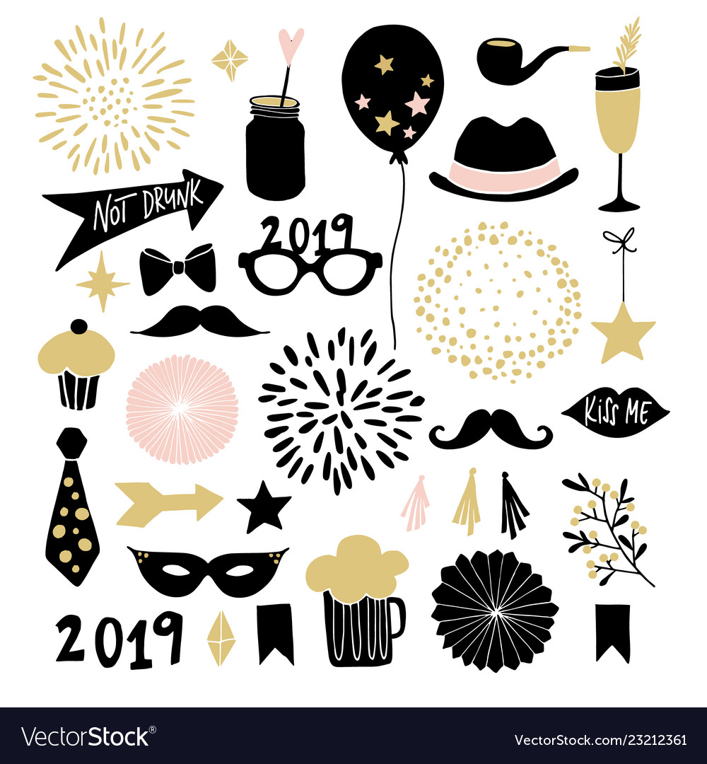 Set of hand drawn new year or birthday party