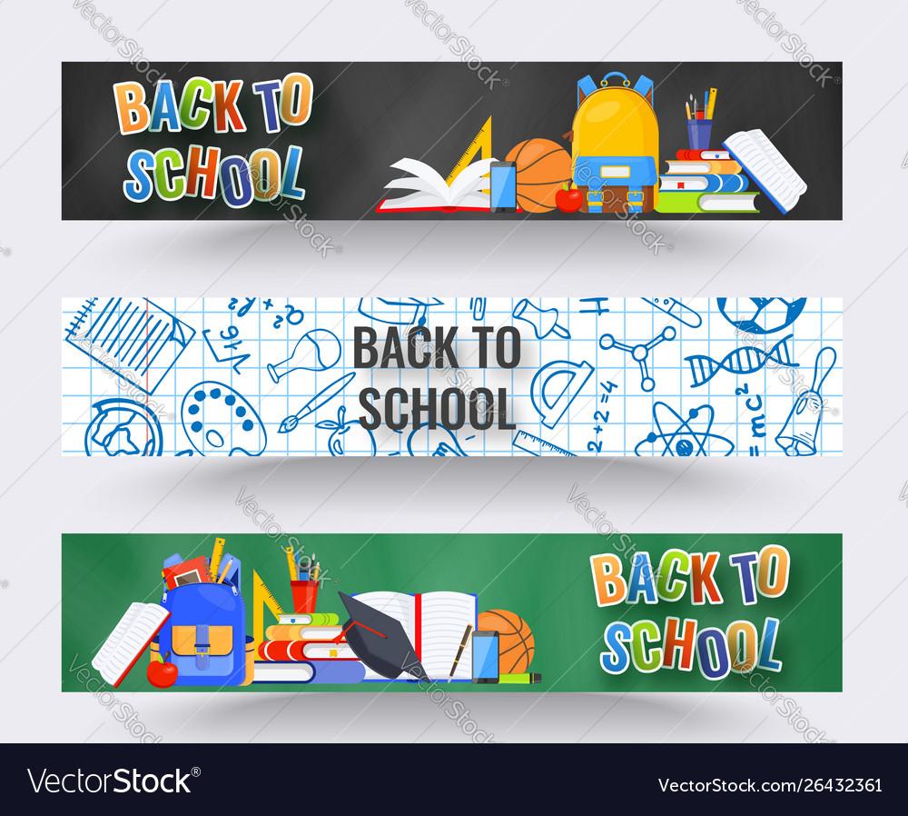 Three horizontal back to school banners backpack