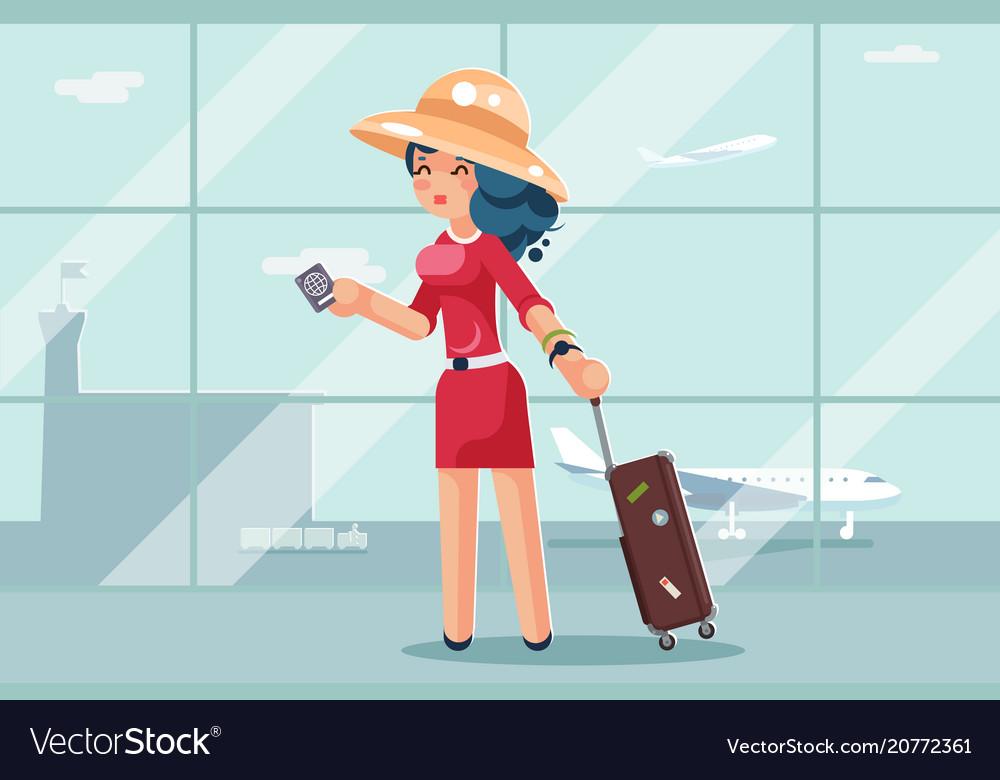 Travel cute woman suitcase passport airport