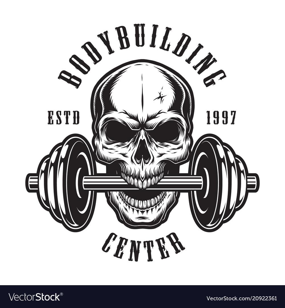 Vintage monochrome bodybuilding logo template Vector Image