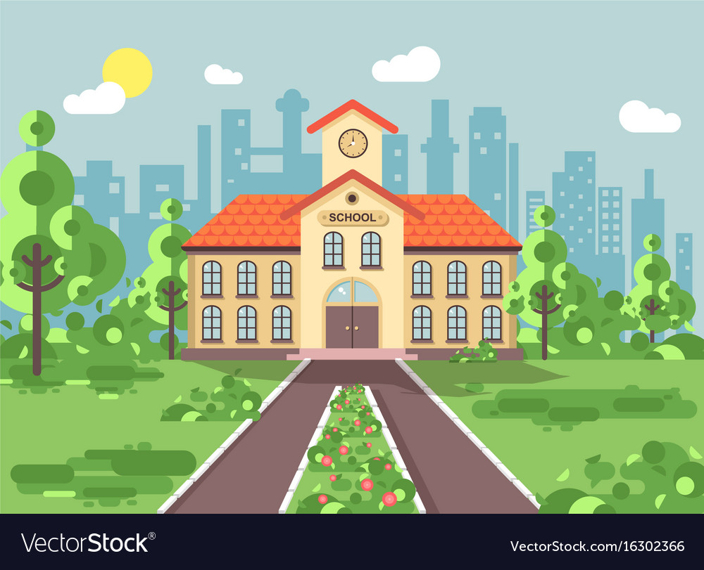 Back to school architecture vector image