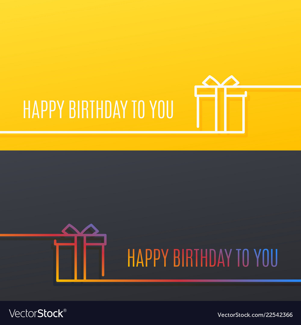 Birthday linear banner happy birthday gift box