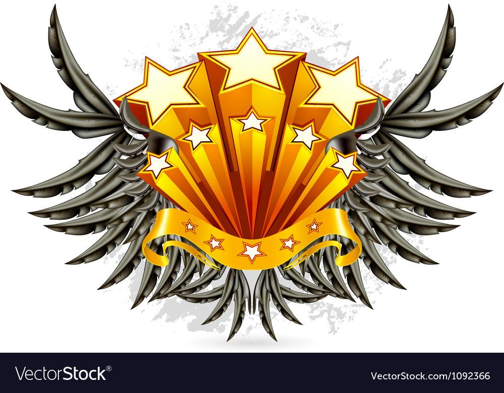 Black Wings Emblem vector image