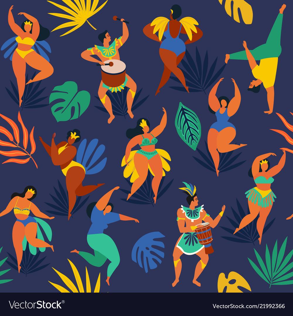 Brazil carnival seamless pattern with flat
