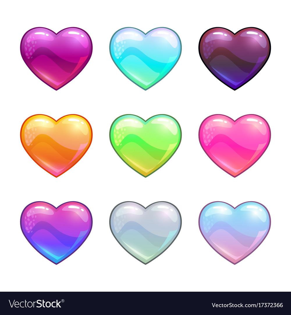 Cartoon colorful glossy hearts