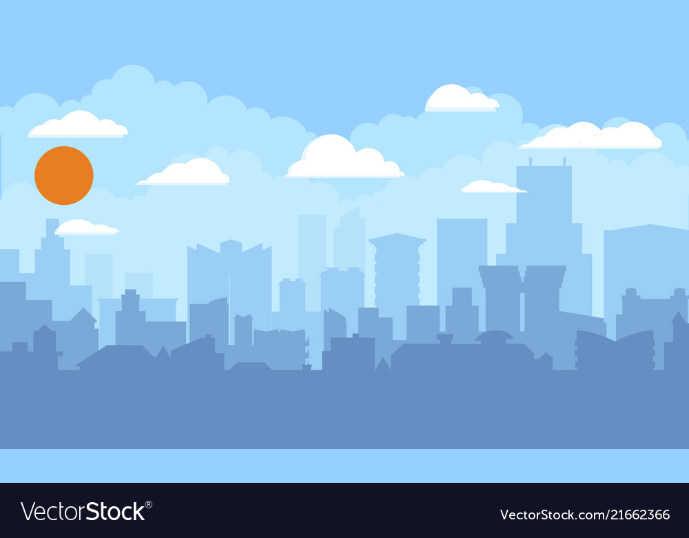 Cityscape with blue sky white clouds and sun