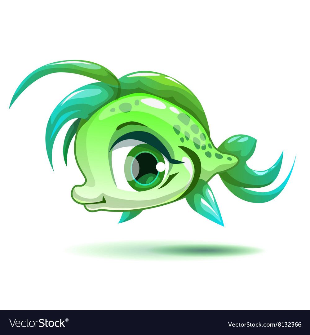 Cute cartoon little green girl fish