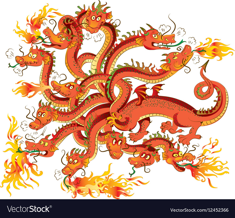 Dragon with twelve heads vector image