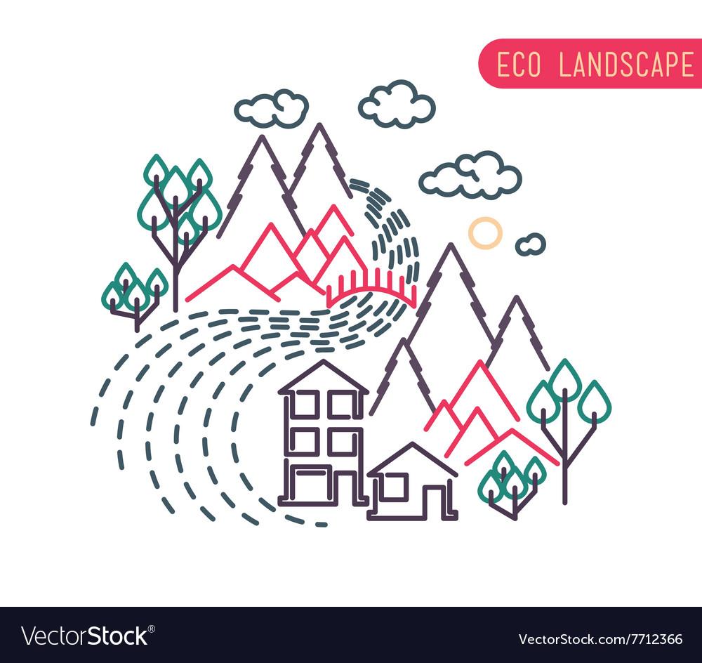 Flat eco liner design rural landscape business