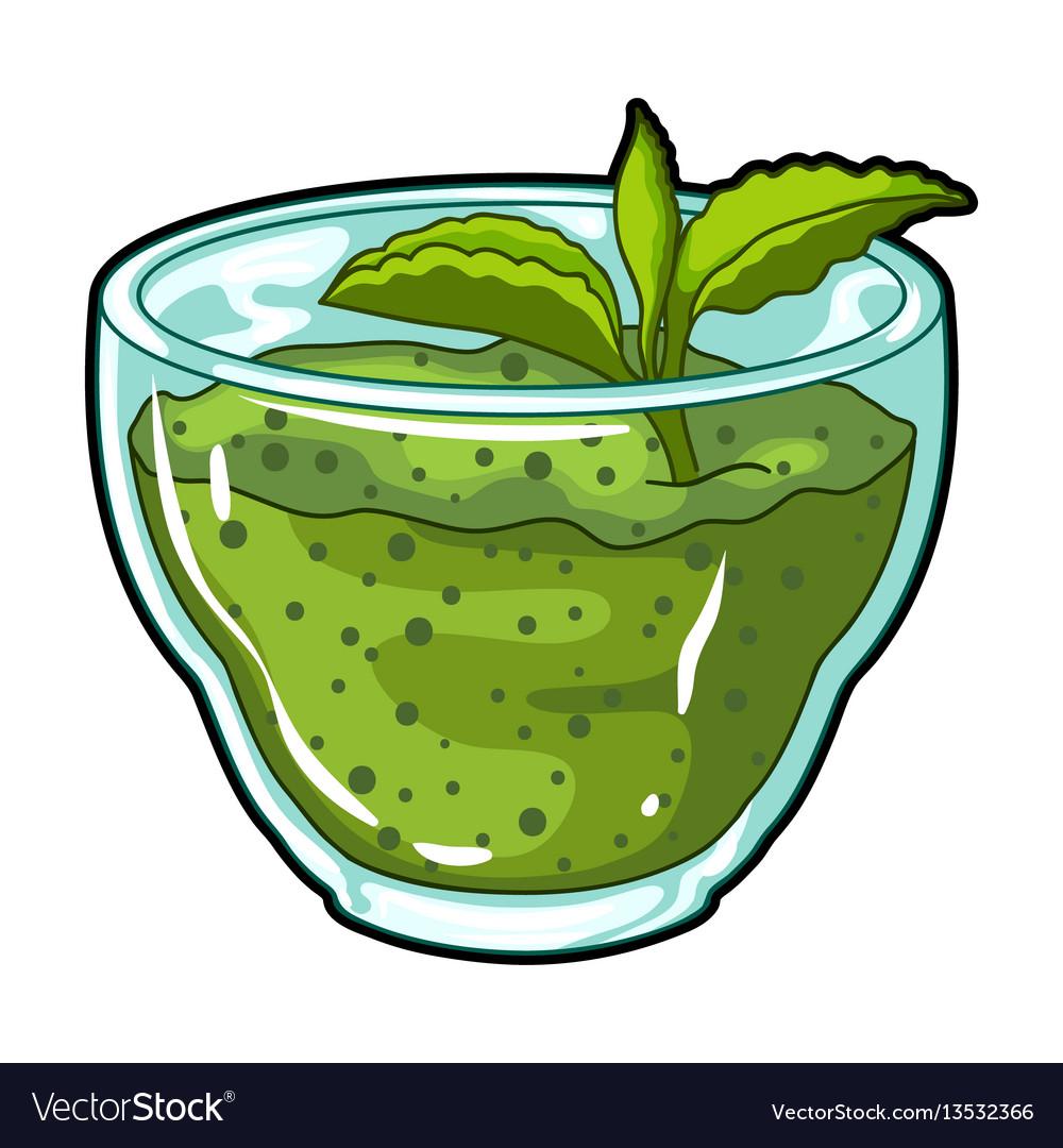 Fresh puree of greens with a mint leaf vegetarian
