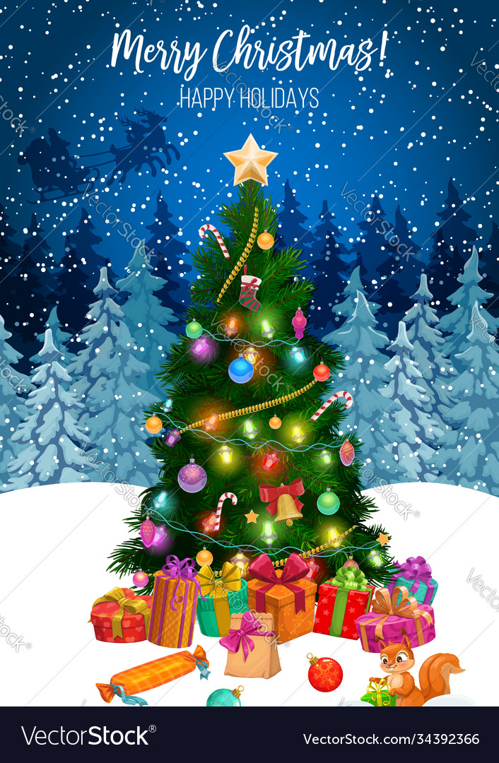 Gifts under christmas tree merry xmas holiday