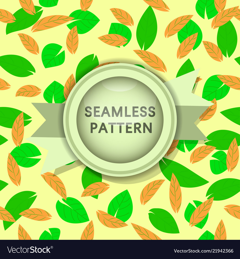 Green and orange leaves seamless pattern on light