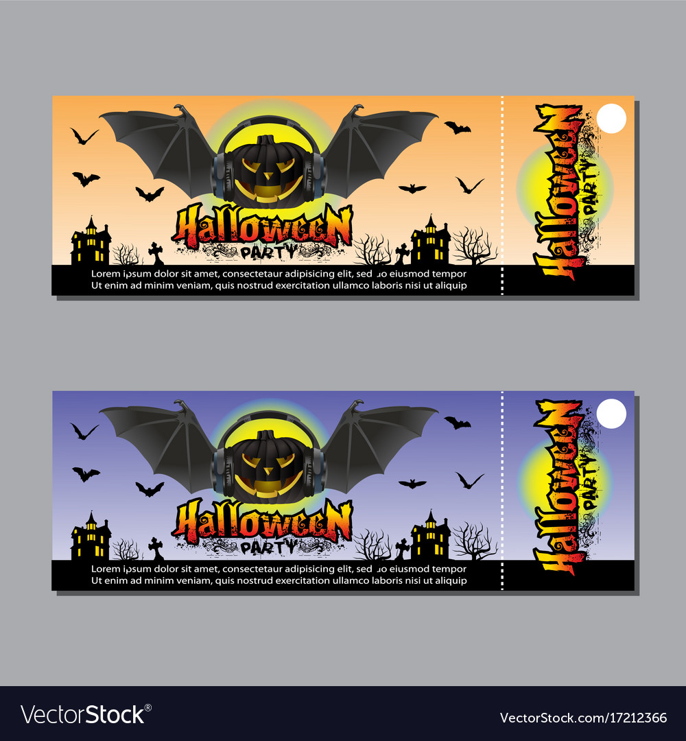 halloween party ticket design concept royalty free vector