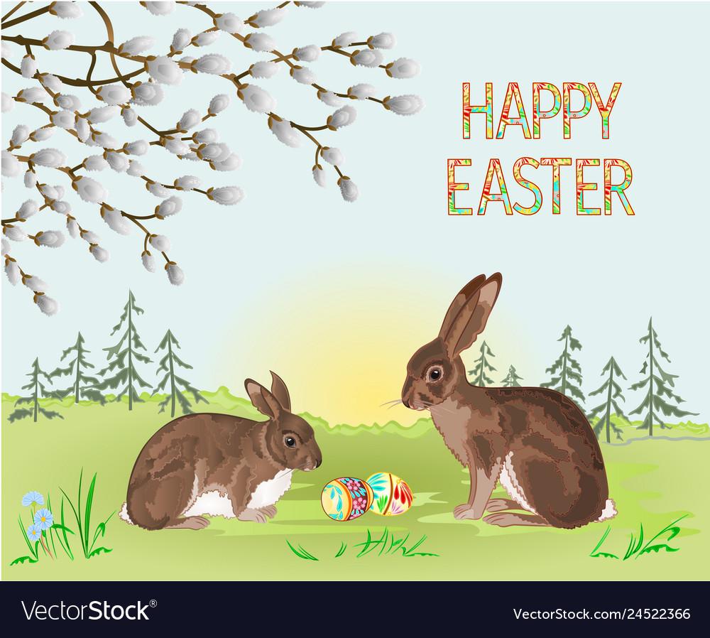 Happy easter spring landscape forest rabbit