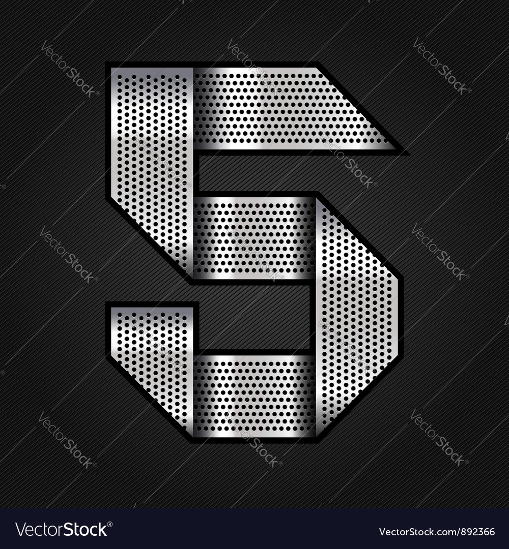 Number metal chrome ribbon - 5 - five vector image