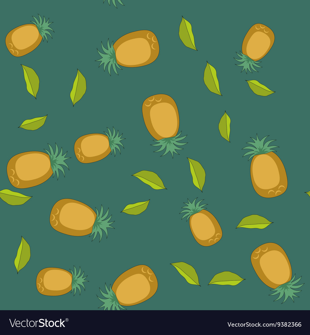 Seamless pattern with cartoon pineapples Fruits