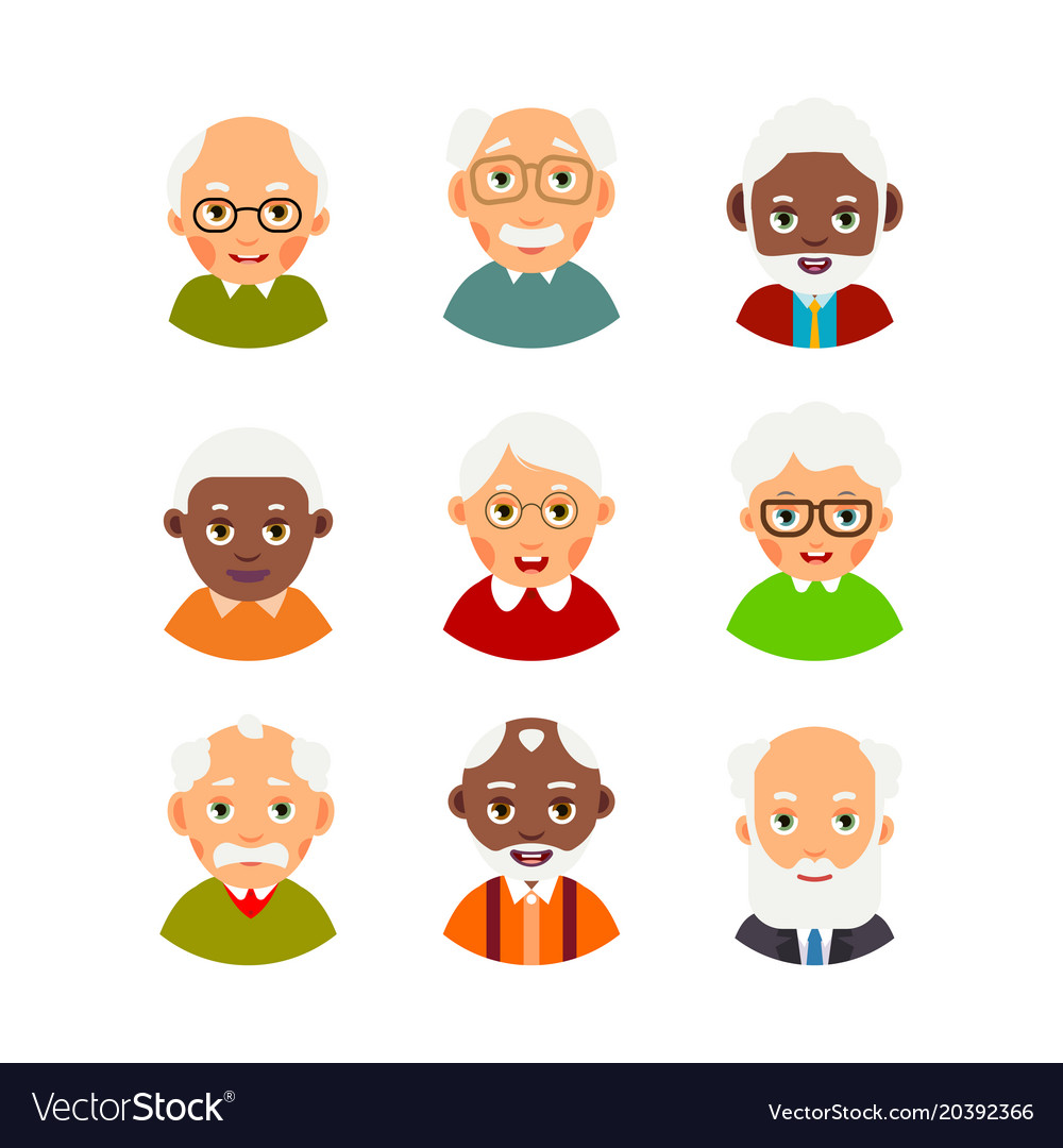 Set avatars older people kit avatars elderly vector image