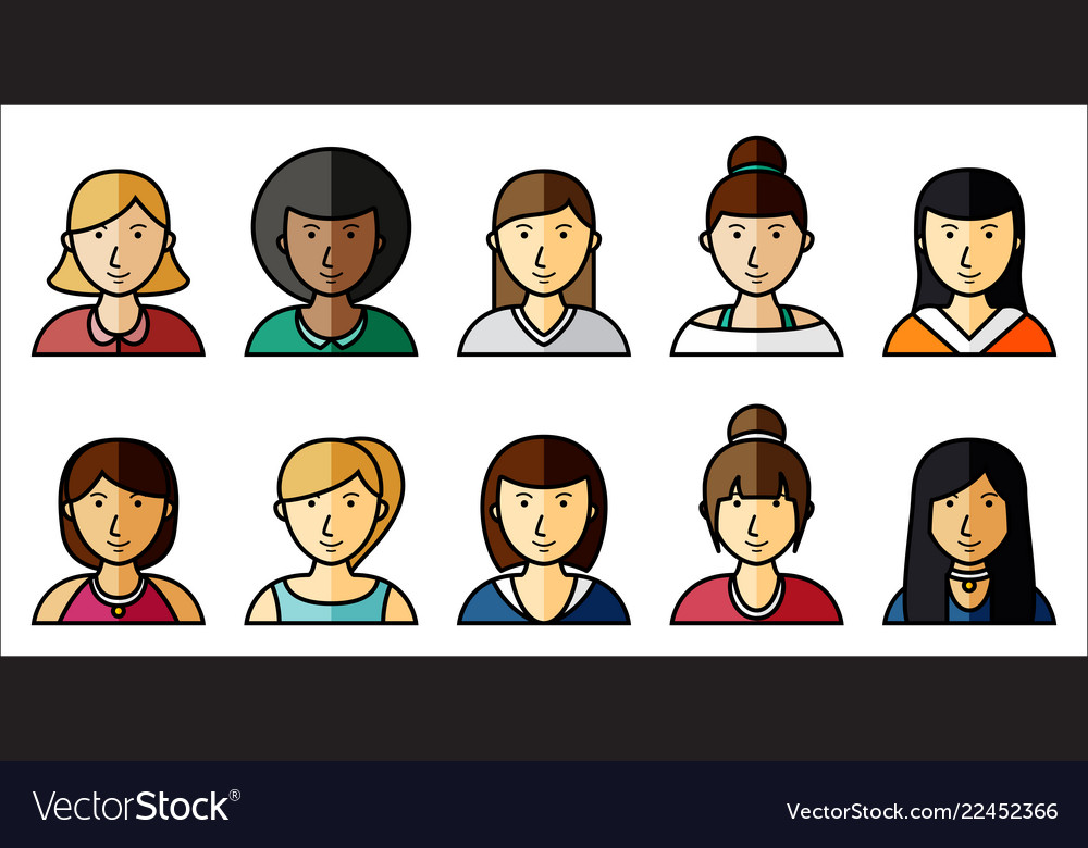Set of women icons with hairstyle in flat style