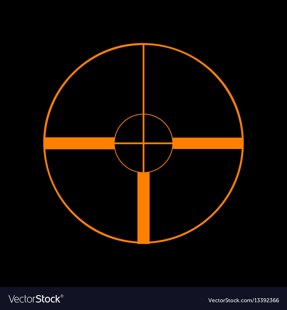 Sight sign orange icon on black vector image