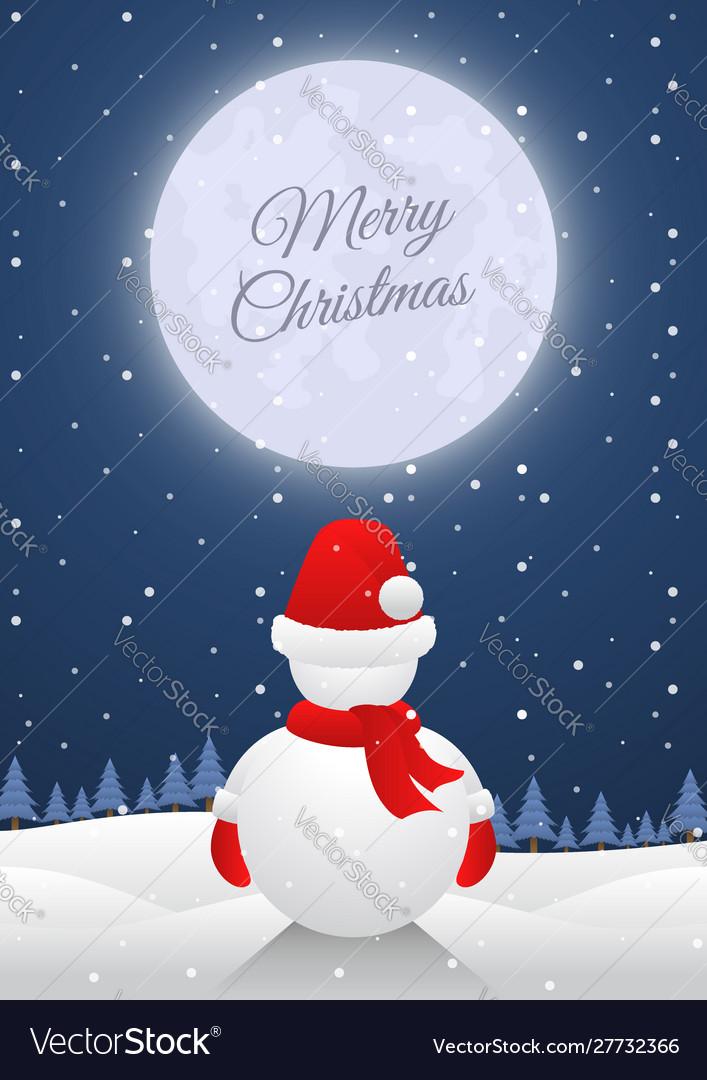 Snowman standing alone on christmas night