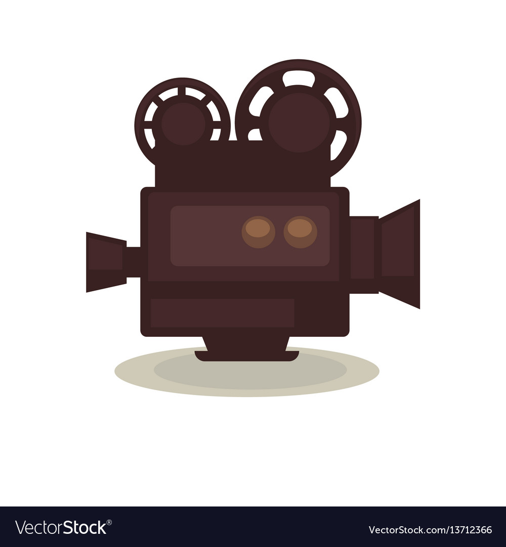 Vintage filming camera isolated on white eternal vector image