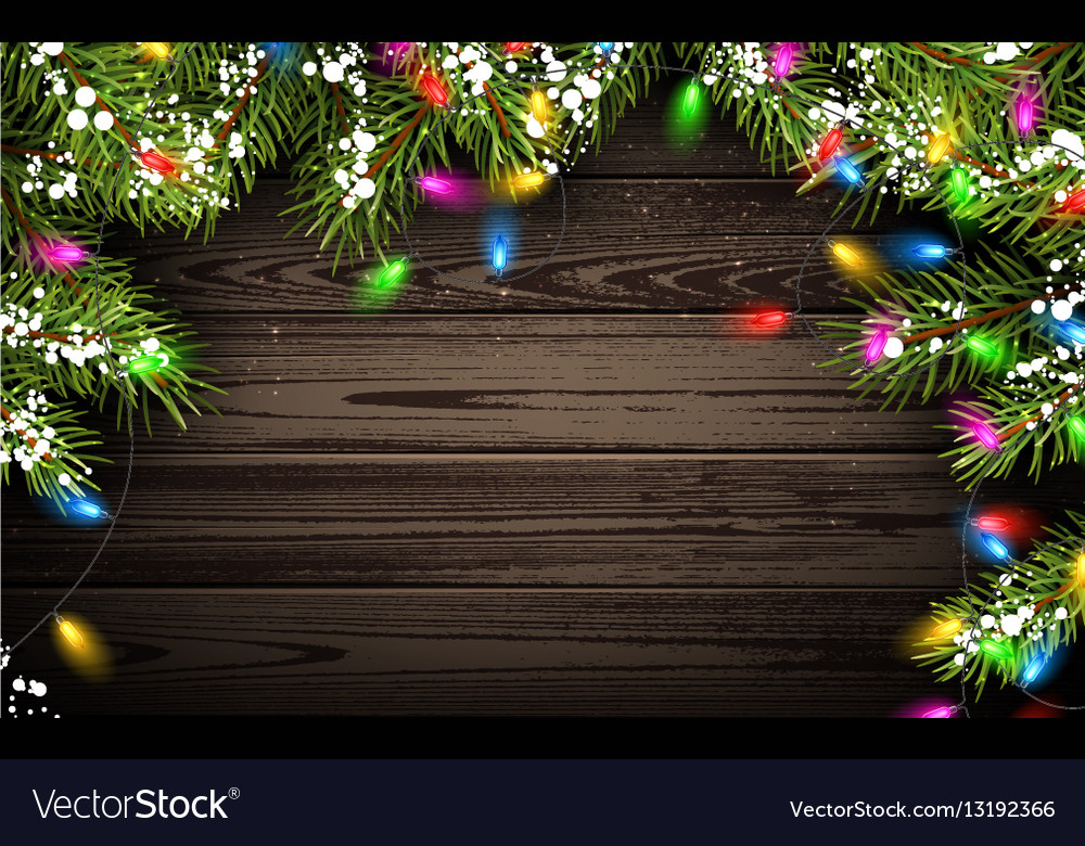 Wooden Background With Christmas Tree